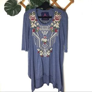 Johnny Was | Embroidered Blue Tunic Tee Shirt Top